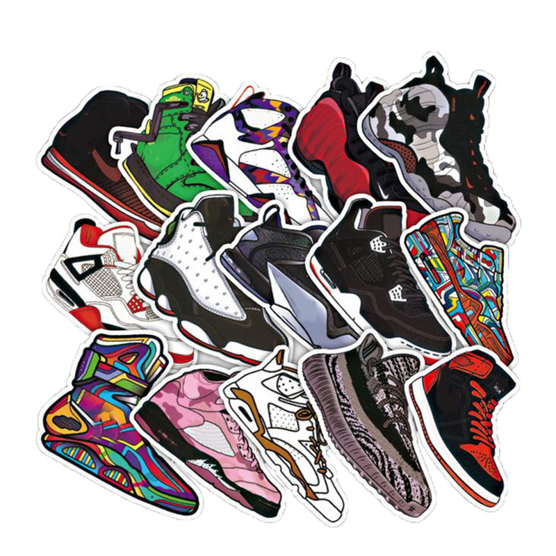 50pcs/lot Basketball Sneakers Sticker Waterproof Stickers For Wall Fridge Travel Suitcase Bike Sliding Plate Car Styling Sticker