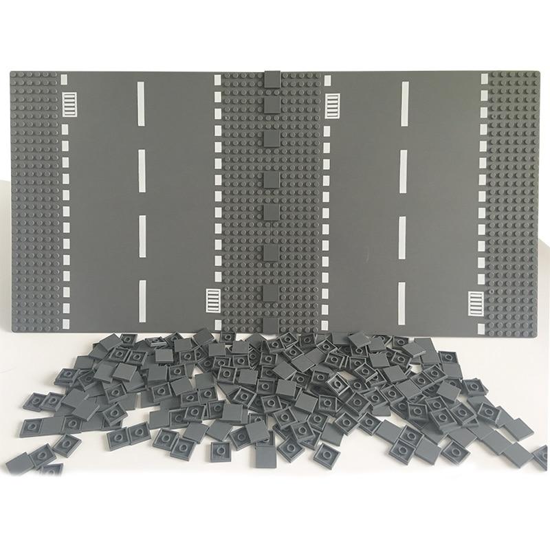 DIY Enlighten Plastic Building Block Bricks 100Pcs Flat Tile 2x2 Toys For Kids Compatible LegoINGlys City Road Plate