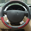 Men patchwork top layer cow genuine leather car steering wheel covers --black with red line 15inch size XRZ315