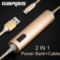 GARAS Power Bank Cables 2in1 Cable For Iphone Lightnting Micro USB Cable With Power Bank Function