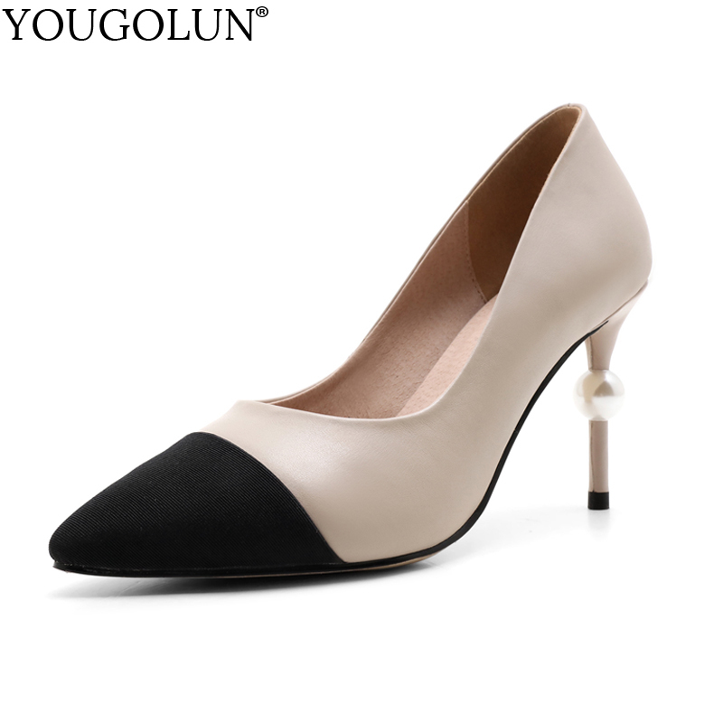 YOUGOLUN Women Pumps Genuine Cow Leather Thin Heel 8.5 cm High Heels Mix Color Apricot Black Beading Pointed toe Shoes #A-005 lapolaka cow genuine leather mix color spring summer pointed toe women shoes pumps thin high heels shoes woman