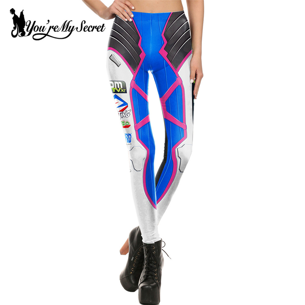 [You're My Secret] Moda azul blanco Leggins mujeres pantalones de mujer Cosplay Super HERO Tracer Comic Legging mujer pantalones KDK1641