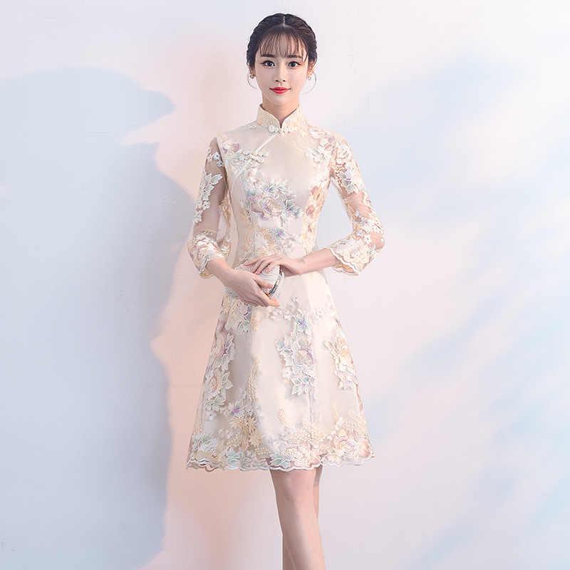 5e02682e6 Sexy Female Three Quarter Sleeve Cheongsam Improved Chinese Style Dress  Vintage Embroidery Flower Women Qipao Vestidos