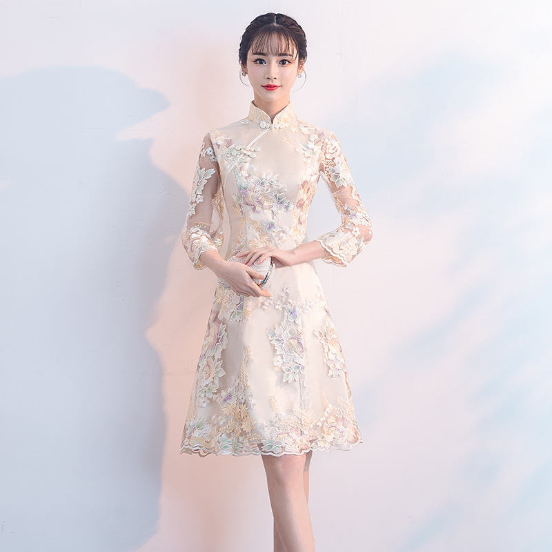 Sexy Female Three Quarter Sleeve Cheongsam Improved Chinese Style Dress Vintage Embroidery Flower Women Qipao Vestidos XS XXL