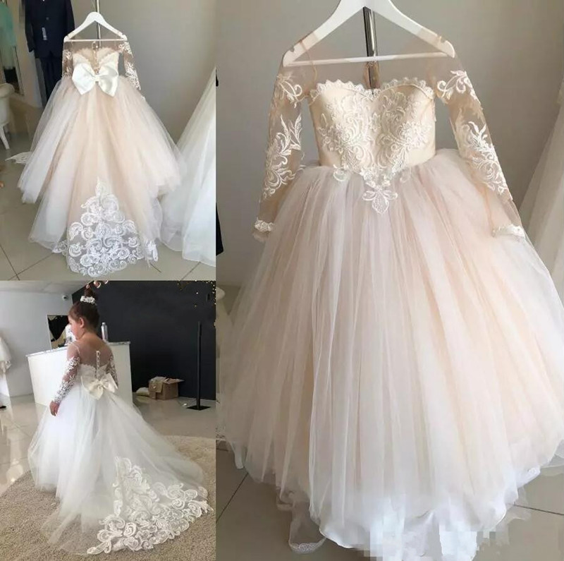 Champagne Tulle Lace   Flower     Girl     Dress   for Wedding with Button Bow Appliques Ball Gown For Cute Princess Sheer Neck Real Picture