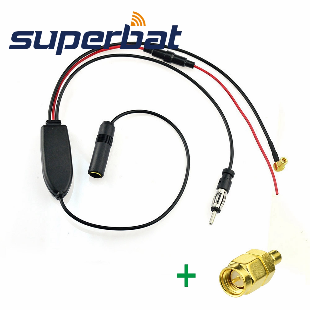 Superbat FM/AM to DAB/DAB+/FM/AM Car Radio Aerial Converter/Splitter/Amplifier with SMB Female to SMA Male Plug Connectors