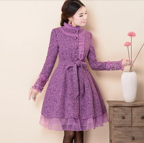 Original 2016 Fashion Long Winter Coat Elegant Slim Princess Female Outwear Stand Collar ...