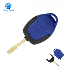 купить OkeyTech Key Shell for Ford Transit Connect Set 3 Button Blue FO21 Blade Replacement Auto Car Cover Case Fob Remote Key for Ford дешево