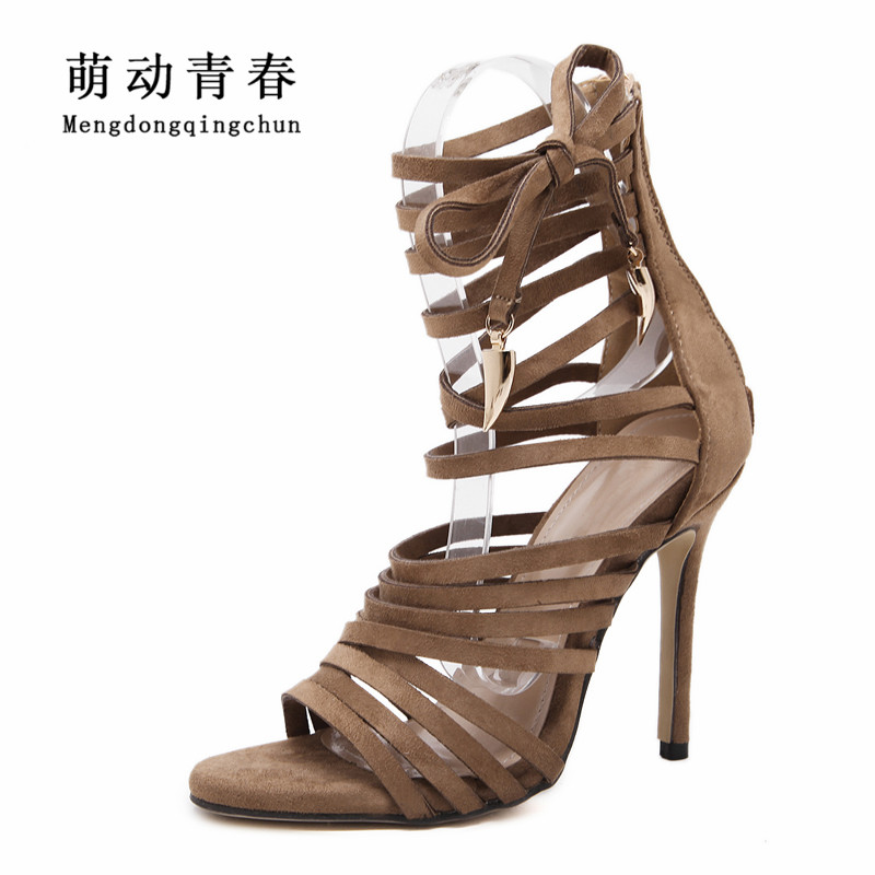 Women Pumps 2018 Fashion Gladiator Thin Heels Peep Toe High Heels Shoes Women Casual Lace Up Metal Decoration Summer Pumps fashion women pumps gladiator peep toe women high heels shoes women casual thin heel buckle strap summer high heel pumps