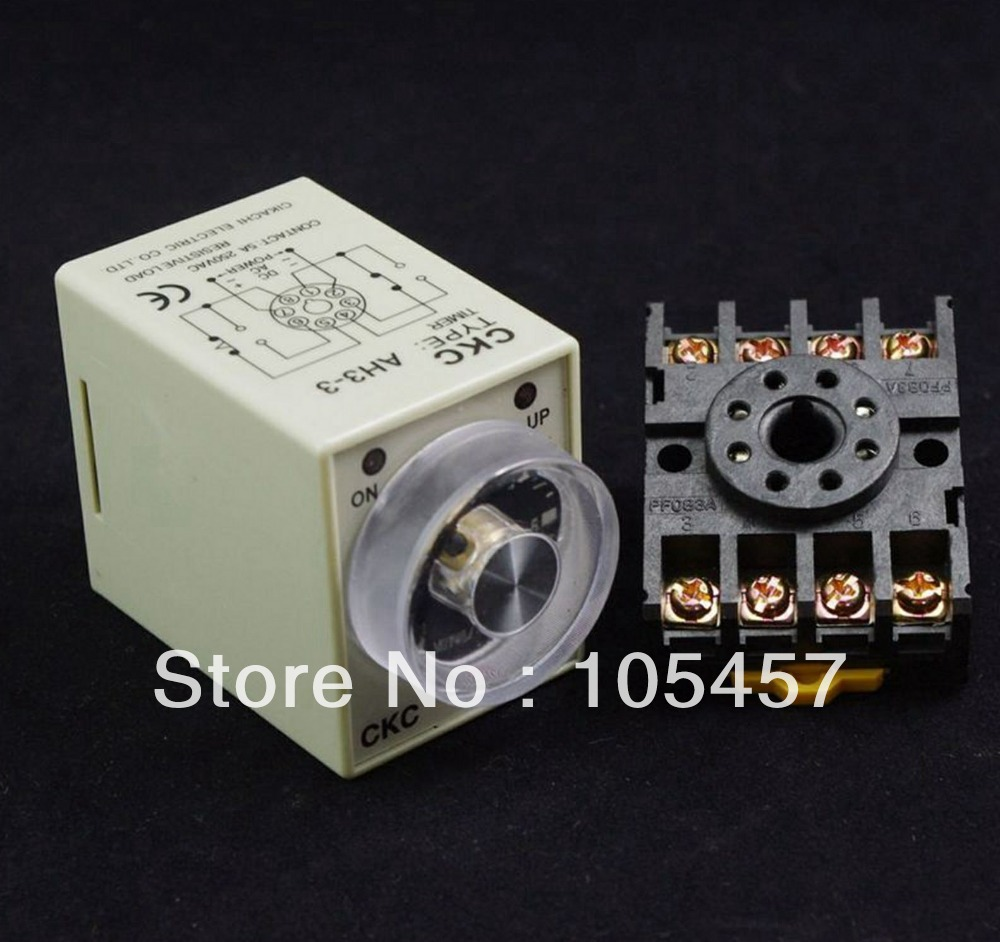 24VDC Power on delay timer time relay 0-60 second AH3-3 hhs6a correct time countdown intelligence number show time relay bring power failure memory ac220v