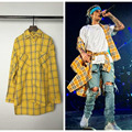 Fashion Men's Plaid Hip Hop Shirts Streetwear Brand Clothing Front Short Back Long Curved Hem Shirt Long Sleeve For Men
