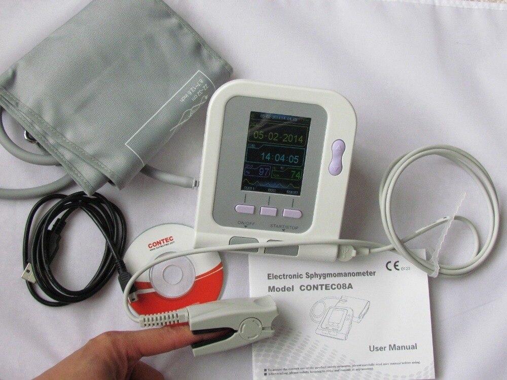 Contec08a Digital Blood Monitor Cuffs Usb Spo2 Probe Pulse