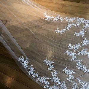 Image 4 - תמונות אמיתיות חדשות לבן/שנהב Appliqued מטפחת ולוס דה novia חתונה צעיף ארוך עם מסרק כלה אביזרי EE2003
