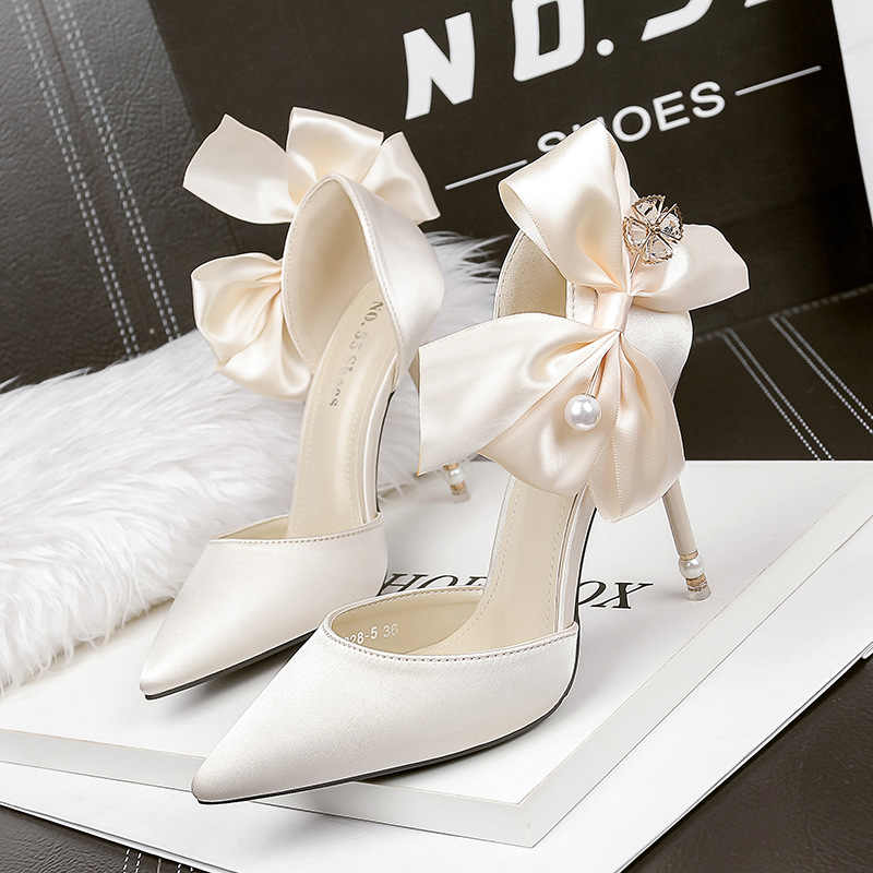 ... New women high heels bow sexy stiletto pumps pointed toe bridal red  wedding pumps fashion ladies ... d7325391d7ab