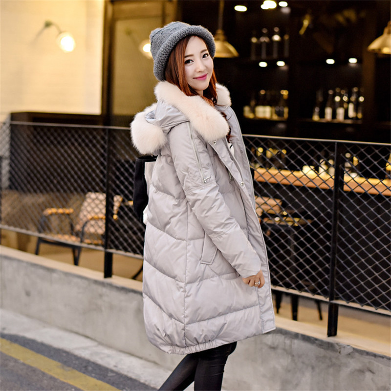 The real fox fur collar hooded white duck down winter font b jacket b font warm