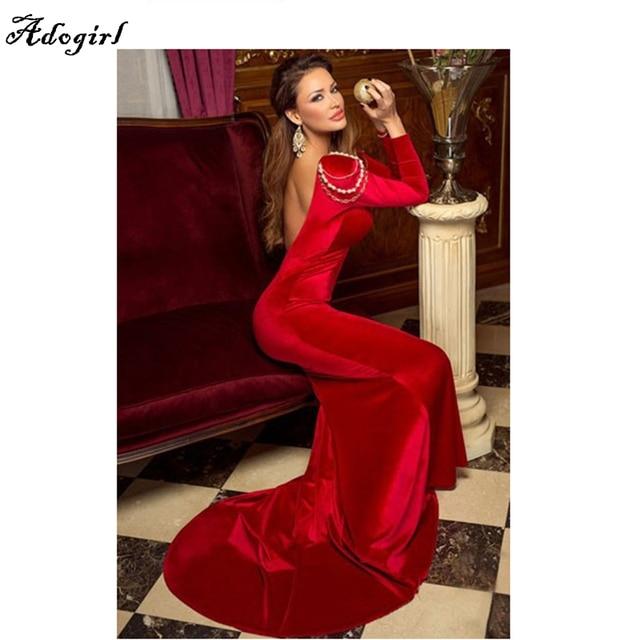 Vestito lungo rosso maniche lunghe