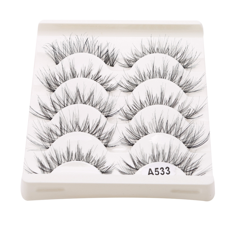 5Pair/Box Eyelashes 3D Artificial Fiber Long Lasting Lashes Women Volume Eyelashes Extension False Eyelashes