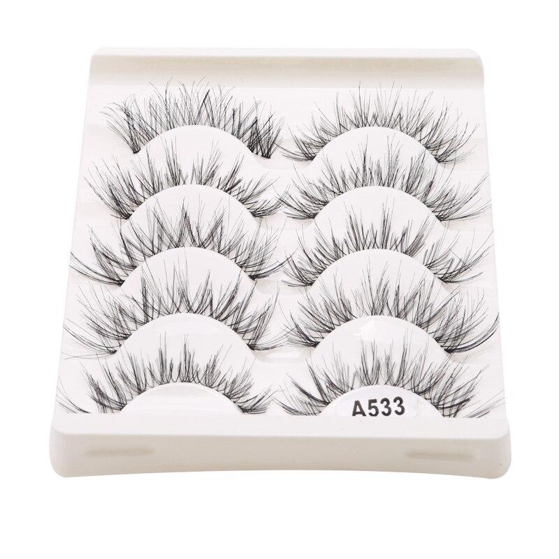 5Pair/Box Eyelashes 3D Artificial Fiber Long Lasting Lashes Women Volume Eyelashes Extension False Eyelashes