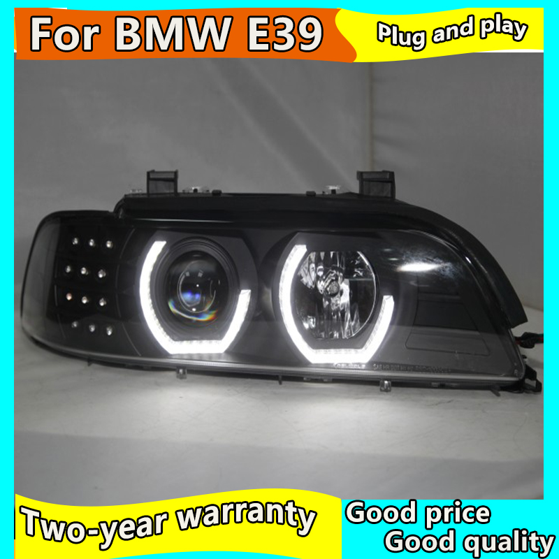 Car head lamp For <font><b>BMW</b></font> E39 <font><b>LED</b></font> Head Lamp Angel Eyes 1995-2003 year Headlights Front lights With Daytime Running <font><b>H7</b></font> HID KIT image