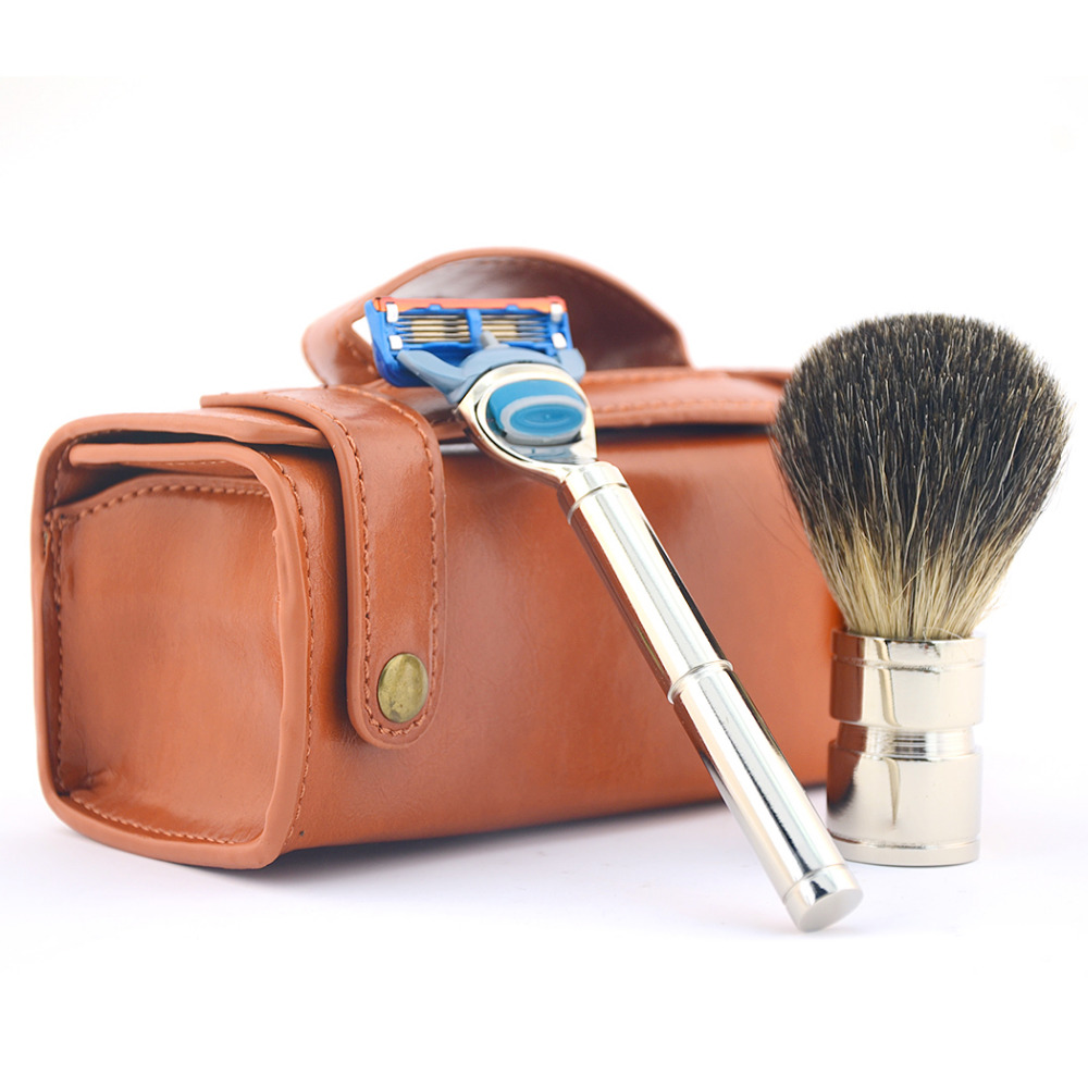 ZY 3pcs Men Shaving Set Badger Hair Brush 5 Layers Safety Blade Razor Alloy Handle Genuine Leather Bag Travel аппликатор валик массажный fosta f 0103
