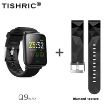 TISHRIC Q9 Smartwatch/akıllı saat kadınlar/erkekler/Bluetooth bilezik Apple Android için Iphone izle su geçirmez spor kan basıncı