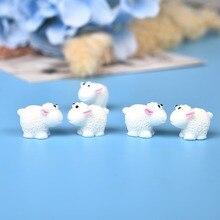 10Pcs/Set Cute Mini Animals Hedgehog Sheep Chicken Fairy Garden Figurines Miniatures Home Micro Miniatures Decor DIY Accessories