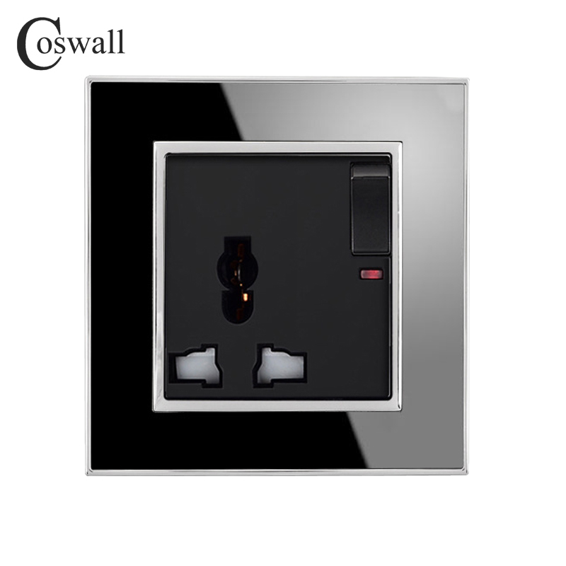 Coswall Brand Universal Switched Socket with Neon Luxury Wall Power Outlet Acrylic Crystal Mirror Panel <font><b>3</b></font> Hole Electrical Plug image