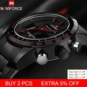 Image 2 - NAVIFORCE Top Brand Mens Sport Watch Men Stainless Steel Analog Digital LED Watches jam tanga Clock Relogio Masculino