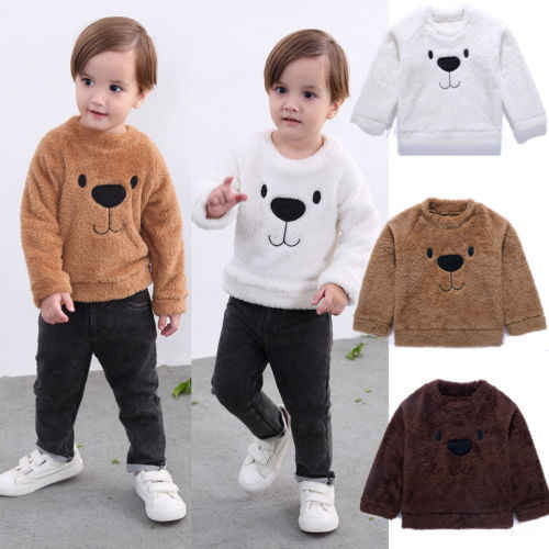 Toddler Baby Girls Boys Bear Tops Blouse Long Sleeve Sweatshirt Thick Clothes Winter Size 2-5T