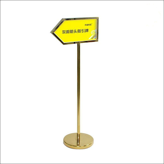 Tianium Gold Hotel Door SignBoard Double Sides Floor Sign Holder Stand Stable Floor Signage Rack Metal