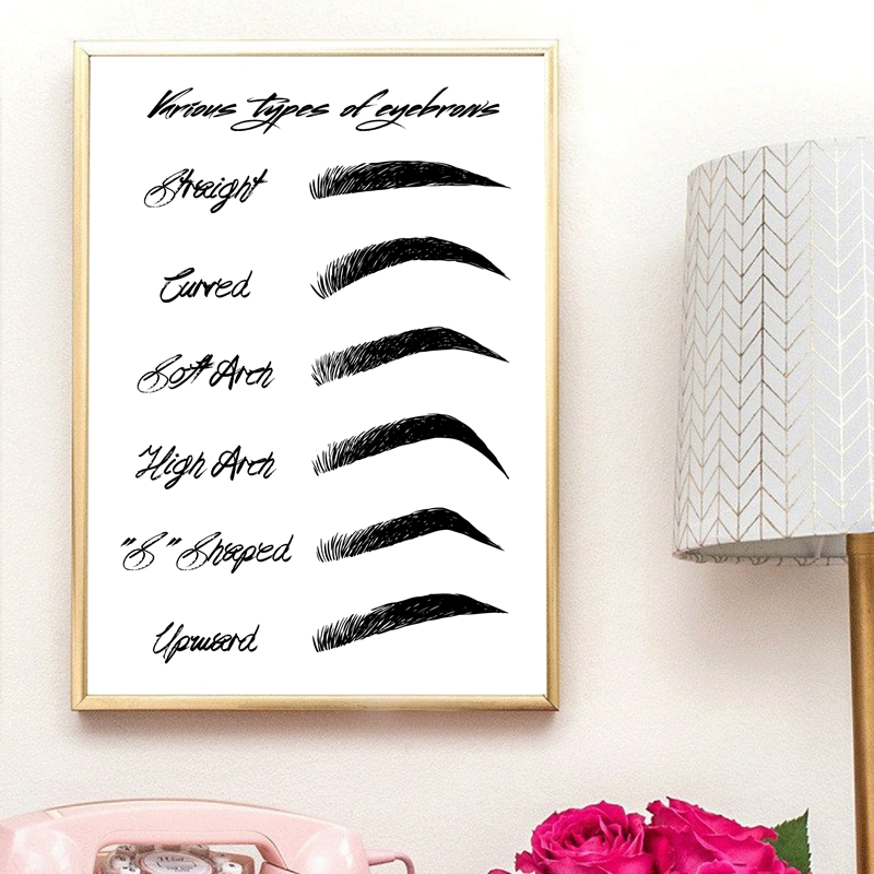 Eyebrow Shapes Print Makeup Wall Art Canvas Painting Black and White Fashion Poster Make Up Beauty Eyebrow Shapes Print Makeup Wall Art Canvas Painting Black and White Fashion Poster Make Up Beauty Wall Picture Girls Room Decor