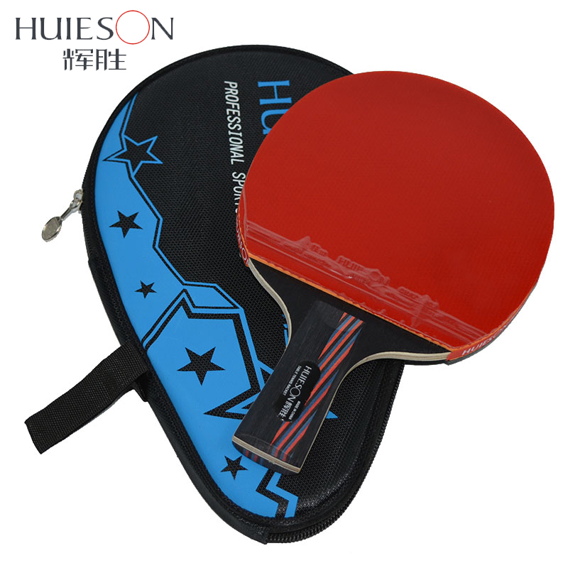 Huieson Hybrid Carbon Fiber Table Tennis Racket Blade Double Face Pimples-in Racket Rubber Ping Pong Paddle for Senior Players