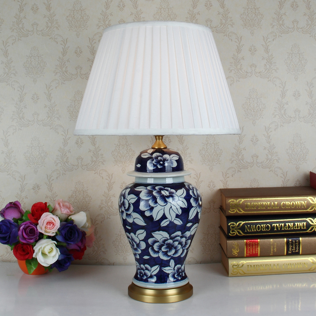 Blue Table Lamps Bedroom Blue white art chinese porcelain ceramic table lamp bedroom living blue white art chinese porcelain ceramic table lamp bedroom living room wedding table lamp jingdezhen light audiocablefo