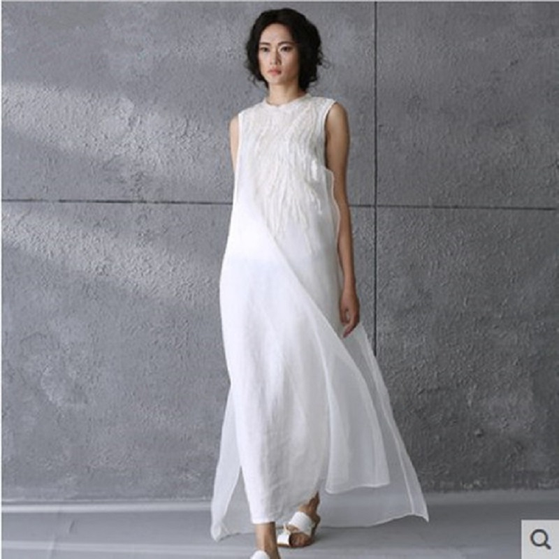 5a256f09e5 Summer Women Long White Sundress O Neck Floral Embroidery Organza Beach  Dress Elegant Vintage Long Chic