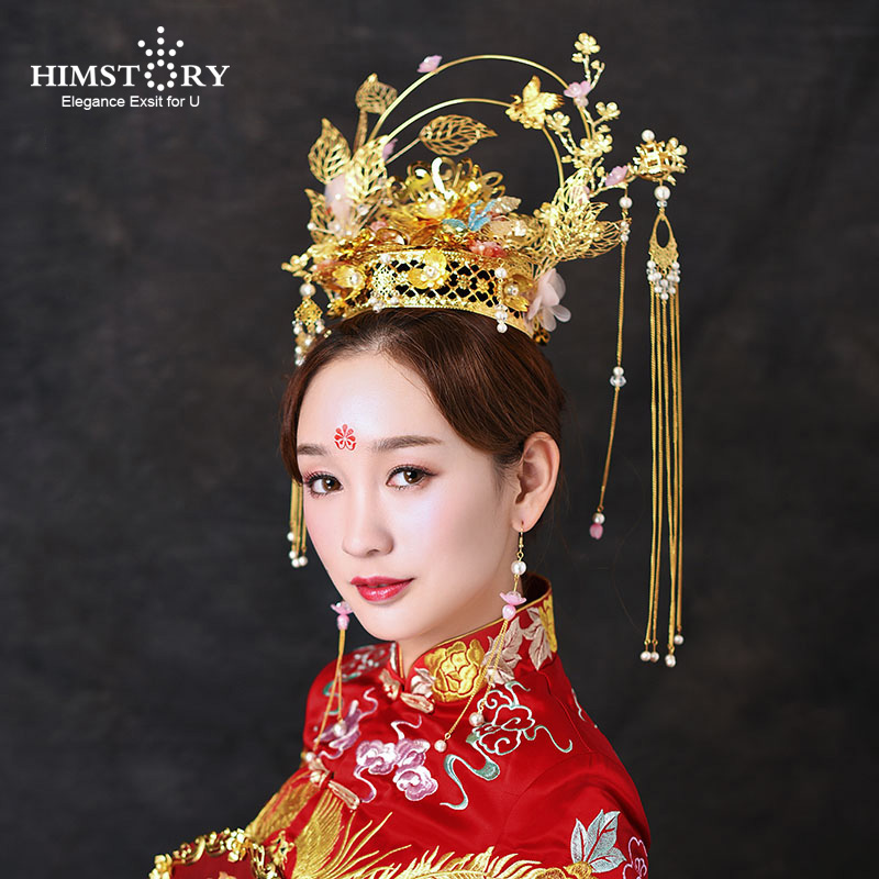 Himstory Newest Vintage Chinese Style Wedding Hair Tiaras Crown Pink Flower Gold color Tassel Wedding Bridal