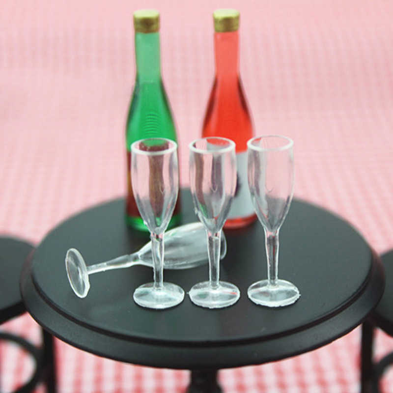 1//12 Miniature Champagne Cup Wine Glasses Bottles for Dollhouse Party Decor DIY