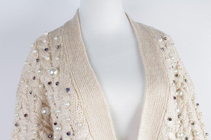 Tricot Tricoté Chandail Lignes Femmes Perle Pull V À Col Survêtement Cardigans Main Perles Manches En Torsion Épaississent Automne Secondaires La Longues FxwUxq