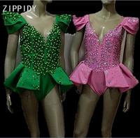 Блестящие стразы сетки боди зеленый розовый камни Боди без рукавов Женский костюм певицы Для женщин на день рождения танец наряд