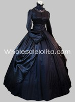 Gothic Black Satin and Cotton High Collar Victorian Gown Dress