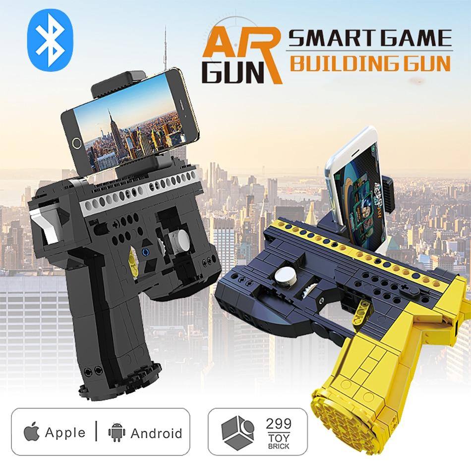 299+PCS New Design Bluetooth AR-Gun Building Blocks Bricks Toy Gun AR Game Gun for Android iOS Systerm Gift Toys For Children