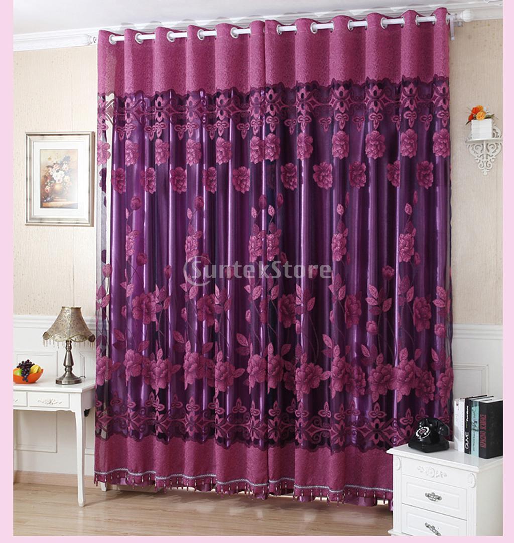 250x100cm Flower Pattern Beaded Jacquard Window Voile Curtain  Dark  Purple(China (Mainland)