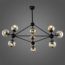 Postmodern magic bean glass black chandelier American wrought iron ball personality round restaurant living room chandelie
