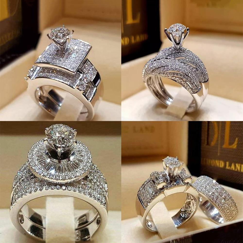 2pcs/set Bohemian Vintage Elegant Zircon Ring Silver Color Crystal Engagement Wedding