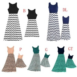 Striped Parent-child Dresses Casual Sleeveless Mini O-Neck Dress Simple Elegant Mother And Daughter Dresses 4