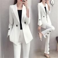 Women Pant Suits autumn New high end white England small suit suit female temperament small fragrance two piece Suit women