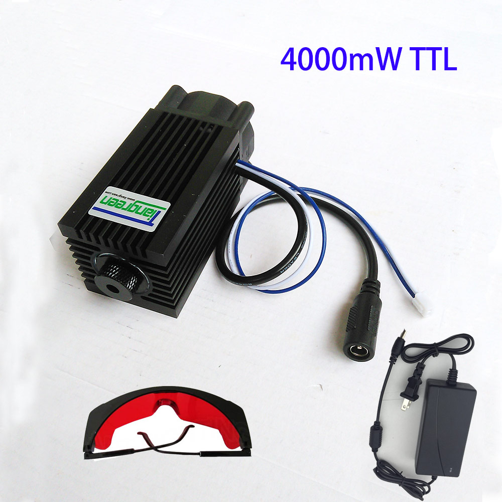 4W 450nm 445nm 4000mW Laser Engraving DC12V Focusable Blue Module with TTL Power supply, send glasses as gift tgleiser 3 5w 450nm 445nm blue module cnc carving w 3500mw high power laser diode free glasses as gift