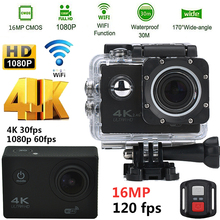 Action Camera 4K 30PFS 16MP WIFI Ultra HD Camera 1080P 60PFS 2 Inch Waterproof 170D Helmet bike Cam Sports