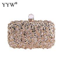 YYW  Fashion Elegant Evening Clutch Diamonds Box Bag For Party Wedding purse top handle Handbag Womens Rhinestone Sling