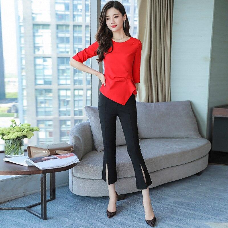 2018 New Autumn Elegant Office Lady Short Suit Set Women 2 Piece Set Red Color Shirt + Black Pant Suits Female Tracksuit S-2xl Clearance Price