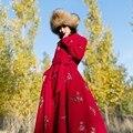 MM102 Новое Прибытие 2016 элегантный цветочный вышитые большой нижней старинные длинным рукавом макси двубортный женщин шерстяное пальто зима